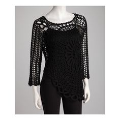 Black Crocheted Top   Daily deals for moms, babies and kids via Polyvore