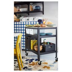 New Apartment BROR Utility cart - black, pine plywood - IKEA How To Choose A Shelving System Shelvin Ikea Kitchen Furniture, Ikea Kitchen Cabinets, Industrial Furniture, Ikea Kitchen Cart, Kitchen Redo, Kitchen Ideas, Kitchen Island Trolley, Pine Plywood, Ikea Inspiration