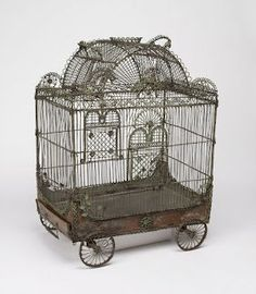 From Cooper Hewitt, Smithsonian Design Museum , Bird cage in the form of a circus wagon century), Painted metal wire, sheet metal Antique Bird Cages, Antique Metal, Little Dorrit, Hansel Y Gretel, The Caged Bird Sings, Vintage Birds, Vintage Clocks, French Vintage, Design Museum