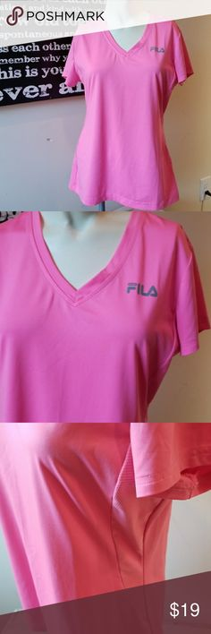 💋3/$24💋FILA SPORT BUBBLEGUM PINK WORKOUT TEE Excellent condition.   💋3 for $24💋 BUNDLE any 3 items (listed 3 for $24), IGNORE  the bundle price & OFFER $24 🌺See mannequin listing for size reference.   Also CHECK OUT my 🦄3 for $15🦄, ⚘3 for $50⚘ & ♥️10 for $10♥️ sale!  Why SHOP MY Closet? 💋Smoke/ Pet Free 💋OVER 1000 🌟🌟🌟🌟🌟RATINGS 💋POSH AMBASSADOR &TOP 10% Seller  💋TOP RATED 💋 FAST SHIPPER   💋BUNDLES DISCOUNT 💋EARN VIP DOLLARS W/ EVERY PURCHASE ❤HAPPY POSHING!!! 💕 Fila Tops…