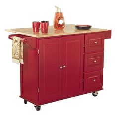 Add much-needed storage and prep space to your busy kitchen with this wood-topped kitchen cart, featuring 3 drawers and a wheeled base.   ...