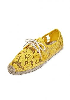 Free those feet from your 3-4-month stint of clammy boots by slipping on these yellow tulip lace shoes. They're breezy and perfect for those 50-60 degree days.