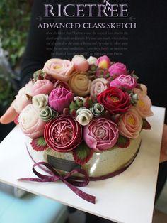 Ricetree Rice cake Korean Buttercream Flower, Buttercream Flower Cake, Wilton Cake Decorating, Cookie Decorating, Beautiful Cupcakes, Chocolate Pies, Rice Cakes, Floral Cake, Fondant Cakes