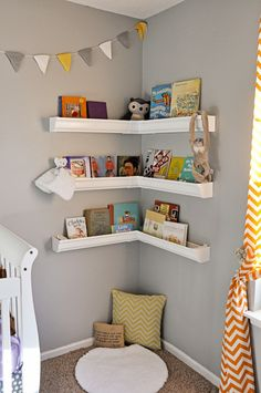 Corner display shelves- made from rain gutters; maybe for AG doll collection