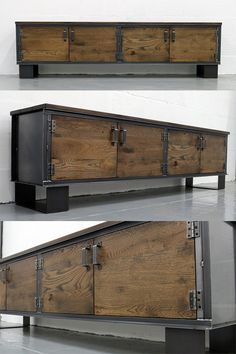 The Carpenter's Sideboard - industrial design storage made from solid oak and steel. Any carpenter would be proud of this craftsmanship