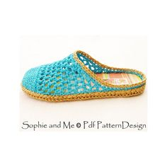Blue and Raffia Slip-In Slippers Crochet by PdfPatternDesign