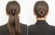 TIE PIGTAILS TOGETHER TO KEEP YOUR TIGHT LOW BUN Tie the pigtails as close together as possible in the middle of the back of your head, and then wrap the ends around each other, creating the bun. Secure with bobby pins.