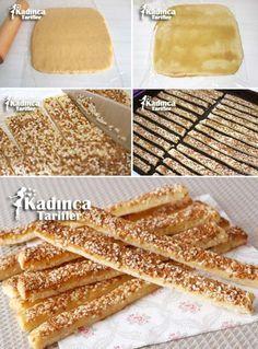 Sesame Stick Cracker Recipe, How to … – Female Recipes - Rezepte Turkish Cookies, Turkish Sweets, Pastry Recipes, Cookie Recipes, Yummy Snacks, Yummy Food, Savory Pastry, Starbucks Recipes, Happy Kitchen