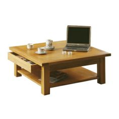 Horizon Square Oak Coffee Table with Drawer