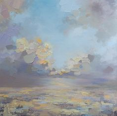"""""""Prairie Sky"""" 24""""x24"""" MELISSA MCKINNON Contemporary Abstract Landscape Artist features BIG COLOURFUL PAINTINGS of Aspen & Birch Trees, Rocky Mountains and stunning views of the Canadian prairies, big skies and ocean beaches. Western Art."""