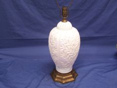 Ceramic Ginger Jar shaped lamp with white opalescent finish . and bamboo leaf motif . This lamp is beautiful the pictures of the lamp body do