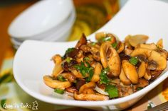Quay Po Cooks: Stir fry mushrooms in butter, garlic and white wine.