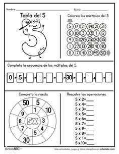Operaciones de la tabla del 5 | Árbol ABC Montessori Math, Preschool Math, Teaching Math, Math Activities, Go Math, Math Help, Math For Kids, 1st Grade Math Worksheets, 3rd Grade Math