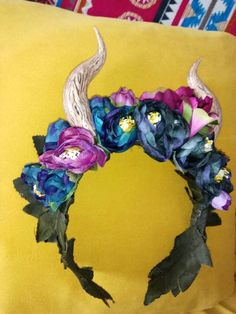 Beautiful petrol blue and purple peonies and handmade horns head dress. Purple Peonies, Nature Spirits, Headdress, Horns, Bliss, My Etsy Shop, Crown, Wreaths, Halloween