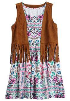 Floral Fringe 2fer Dress