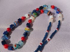 Blue and Red Funky Necklace by HappyTreeFrogStudios on Etsy