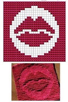 Lips Knit Dish cloths Pattern