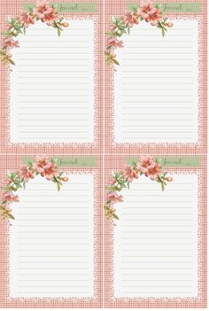 Pink Hibiscus Stationary and Journal Cards Free-download