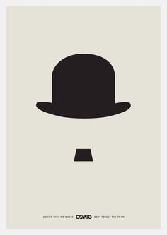 DEB This graphic design only shows a simplified version of a top hat and a moustache. Even though only these two images/details are present we are still able to make out the image (of a gentlemen wearing a hat). Even though there is not a lot of detail within this design it is very strong as we are focused on the 2 main important visuals.