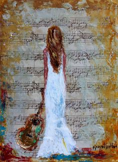 Girl with Guitar abstract painting original oil by Karensfineart
