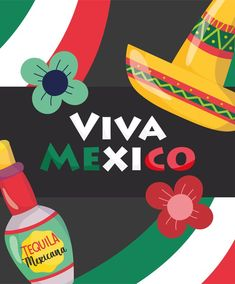 Tequila Mexicano, Mexican Independence Day, Flower Hats, Stock Photos, Illustration, Viva Mexico, Illustrations
