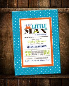 Little Man Baby Boy Shower Invitation 5x7 by KLinspirations