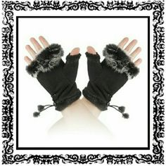 NWOT*BLACK FAUX FUR SUEDE FINGERLESS GLOVES Amazing black suede fingerless gloves with faux rabbit fur around the palm and inside the glove with a tie accent with small fur tassel.  GREAT GIFT IDEA Accessories Gloves & Mittens