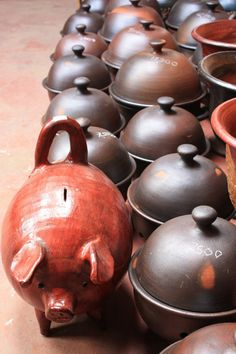 pomaire, where my pig sugar jar came from (and name for this type of fired clay pottery)