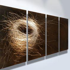 Metal Art Wall Art Decor Abstract Contemporary Modern Sculpture Hanging Zen Textured Nature- Nest 1