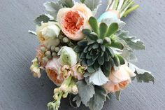 peach, gray and green wedding bouquet flowers   Blush wedding flowers garden roses peony cabbage rose succulents mint gray http://lorasweddingflowers.com/users/awp.php?ln=110659