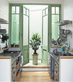 French doors. Awesome height. Spearmint green.