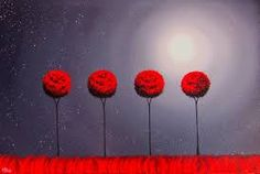 Abstract Tree Art Print, Four Red Trees at Night Wall Hanging, Nightscape, Black and Red Starry Nigh Thing 1, Red Tree, Rainbow Art, Inspirational Wall Art, Abstract Landscape, Abstract Art, Nature Paintings, Texture Art, Whimsical Art