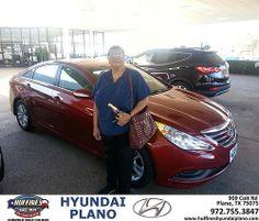 Thank you to Cynthia Davis on your new 2014 #Hyundai #Sonata from Frank White and everyone at Huffines Hyundai Plano! #NewCar