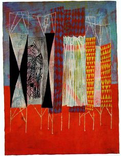 "Voting Booths by Ben Shahn, a painting for Container Corporation's series ""Great Ideas of Western Man. From Portfolio Magazine Volume 3 http://www.adcglobal.org/archive/hof/1988/?id=231"