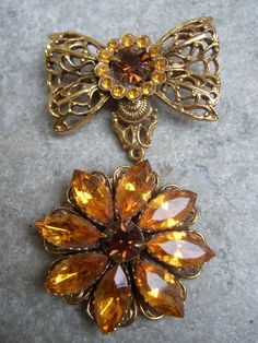 Amber Crystal Dangling Filigree Brooch c by worldmarketproductio