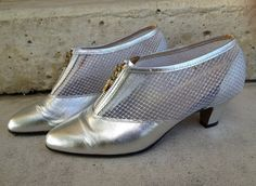 Your place to buy and sell all things handmade Vintage Shoes, Vintage 70s, 70s Shoes, Bootie Boots, Ankle Boots, Silver Boots, Metallic Leather, Kitten Heels, Mesh