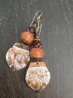 18766d08871c Fall Twigs Enameled Copper Dangle Earrings Oregon Sunstones