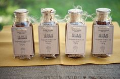 place cards/favors- these are mini bbq sauces & rubs...maybe we can do mini smores kit place settings n favors-and maybe mini score board place settings ?? I dunno