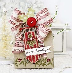 Embellished Gift Box with Canvas Bow and Happy Holidays Gift Tag by Melissa Phillips for Papertrey Ink (September 2013)