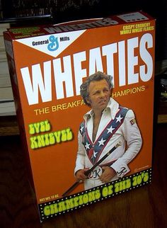 """""""These Wheaties belong in a bowl of whiskey and crushed up Advil. Robbie Knievel, Evil Kenevil, Flat Track Motorcycle, Motorcycle Humor, Harley Davidson Engines, Classic Monsters, Nfl Football, Football Uniforms, Movies"""