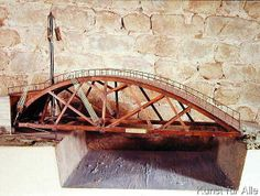 Leonardo nach da Vinci - Model of a swing bridge made from one of Leonardo's drawings