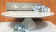 12 -14-16 Inch Round Porcelain and Milk Glass Cake Stand/White Wedding Cake Plate/Pedestal Barn or Rustic Wedding Cake Stand | Pinterest | Wedding cake ... & 12 -14-16 Inch Round Porcelain and Milk Glass Cake Stand/White ...