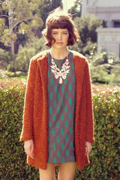 dress AUDREY, vintage cardigan, necklace