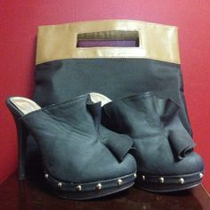 "Charlotte Russe black mules with 5"" heels sz 6.5 Worn once -  excellent condition. These shoes are size 6.5 Charlotte Russe Shoes Mules & Clogs"