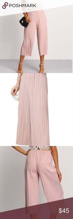 """5⭐️🆕Pink Chiffon accordion pant  w/elastic waist Measurements length 34.6"""" hip 33.1"""" waist 22-29.9"""". Elastic waist allows for stretch. Can be worn so many ways. I've posted many style ideas for these pants to show how versatile they are! Also available is soft pink in my closet. Pants Capris"""
