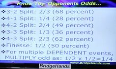 "CARD PLAY by Declarer ""Know Thy Opponents Odds..."" (Bridge Hands Social Lesson #10 - Bridge Declarer Play, Part 1, Look-alike Hands (YouTube))"