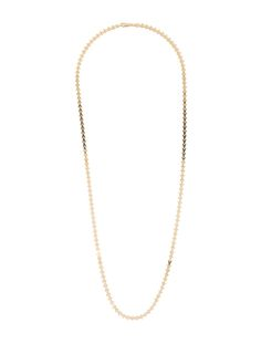 14K yellow gold V link necklace with lobster clasp closure.