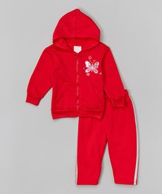 Look at this #zulilyfind! Red Butterfly Zip-Up Hoodie & Sweatpants - Infant & Toddler by Girls Luv Pink #zulilyfinds