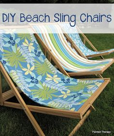 Folding adult sized wood sling chair, also known as wood beach chairs or deck chairs. Folds flat for storage, opens up for easy relaxation! Handmade Furniture, Painted Furniture, Diy Furniture, Outdoor Furniture, Outdoor Decor, Outdoor Living, Outdoor Fun, Industrial Furniture, Furniture Projects