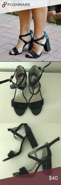 """MICHAEL Michael Kors Black Jeweled sandals Stacked 3.5"""" heel. Bejeweled heel and toe strap. Only worn twice. MICHAEL Michael Kors Shoes Heels"""